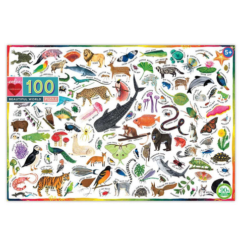 Eeboo Puzzle 100 Piece Beautiful World Animals Plants