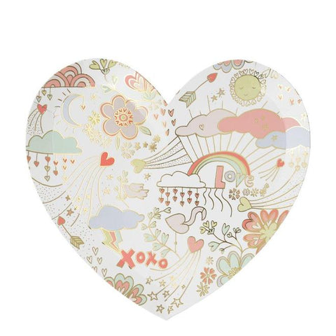 MeriMeri 8 Large Heart Plates Love Doodles