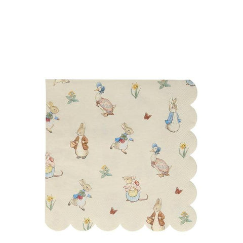 MeriMeri 20 Napkins Large Scalloped Peter Rabbit