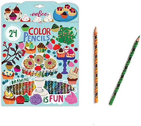 Eeboo Color Pencils 24 in Box Cake Teapot Sweets