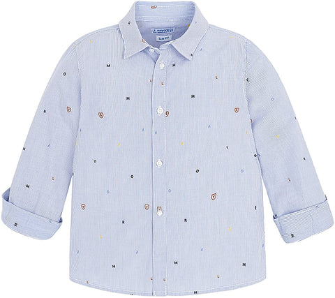 Mayoral Longsleeve Shirt Button up Blue Alphabet