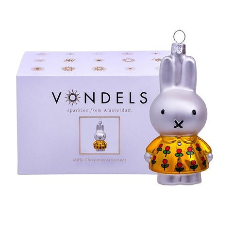 Vondels Miffy Glass Christmas Ornament Bunny Yellow Dress