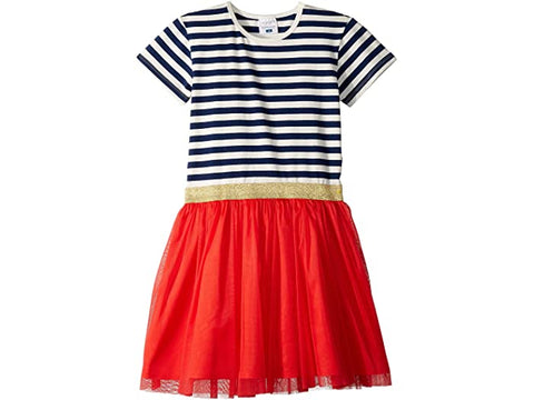 Toobydoo Dress Navy Stripe LS with Red Tulle Skirt