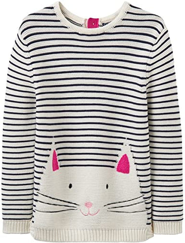 Joules Sweater Knit Navy Stripe White Cat Face