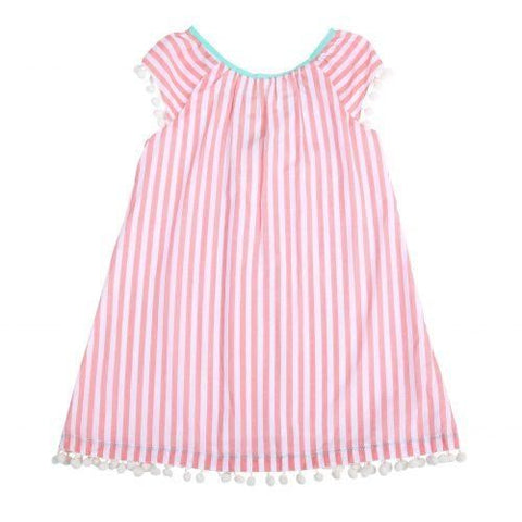 E.G.G. Coral Stripe Pom Pom Dress