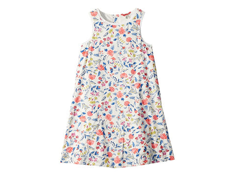 Joules Dress Sleeveless Blue and Coral Floral Trapeze