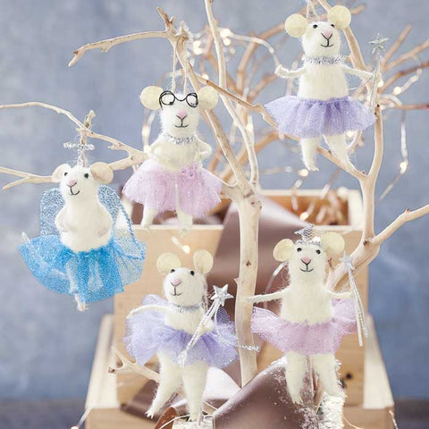 Roost Felt Sugarplum Fairy Mice Ornaments