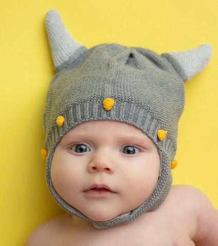 Angel Dear Viking Helmut Hat Grey