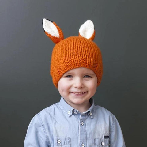 Blueberry Hill Hat Knitted Orange Fox