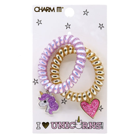 Charm It I Heart Unicorns Coil Bracelet or Hair Cord Set