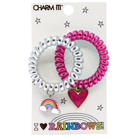 Charm It I Heart Rainbows Coil Bracelet or Hair Cord Set