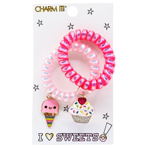 Charm It I Heart Sweets Coil Bracelet or Hair Cord Set