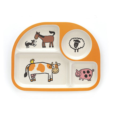 Jellycat Bamboo Divided Plate Farm Animals