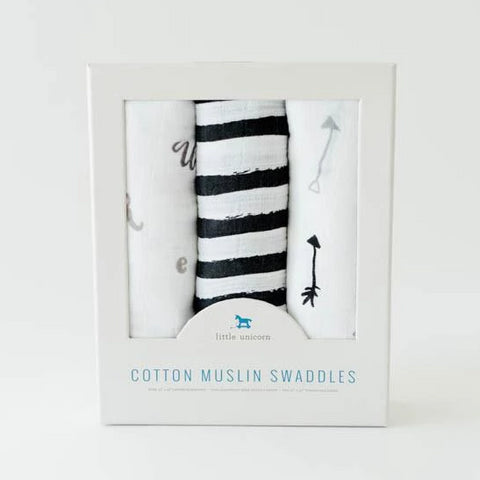 Little Unicorn 3 Piece Swaddle Set Black and White