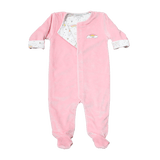 Noomie Footie Reversible Pink Velour Rainbows