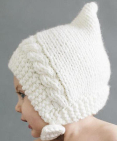 Blueberry Hill Hat Knitted Bonnet Style White With Button