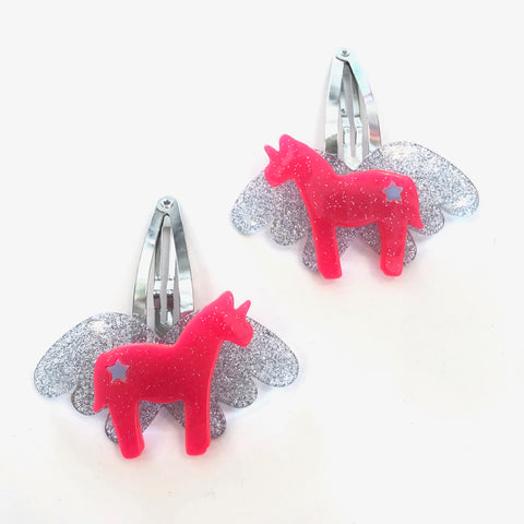Lilies and Roses Pair of Hair Clips Pink Silver Unicorn