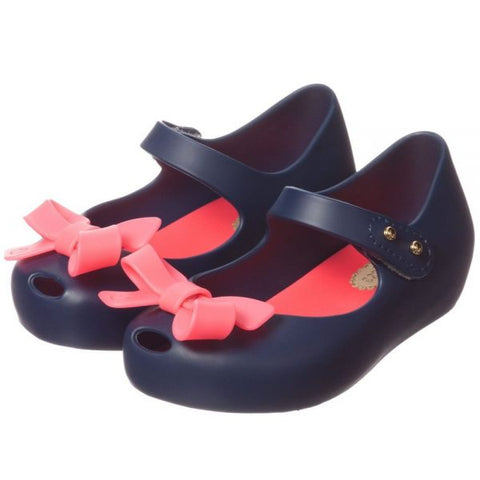Mini Melissa Unltragirl Flats Maryjanes Navy with Pink Bow