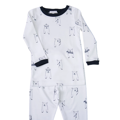 Noomie 2 Piece PJ set Navy Bears Print