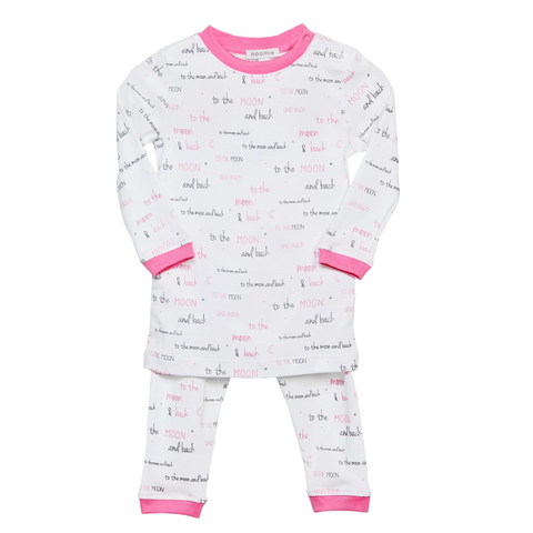 Noomie 2 Piece PJ set Moon and Back Pink