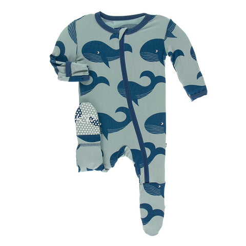 Kickee Pants Footie Blue Whale