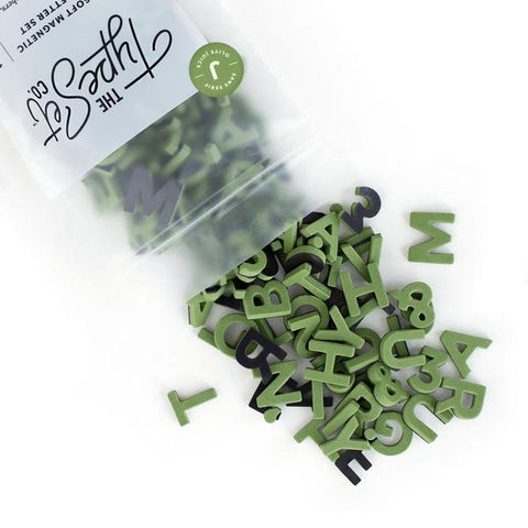 The Type Set Soft Magnetic Letter Set 1 Inch Olive Juice
