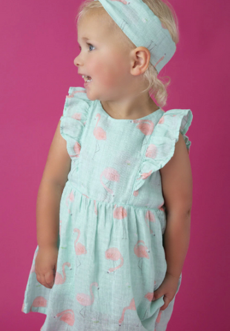 Angel Dear Flamingo Ruffle Dress