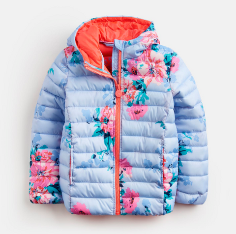 Joules Puffy Coat Sky Blue Floral with Neon Orange