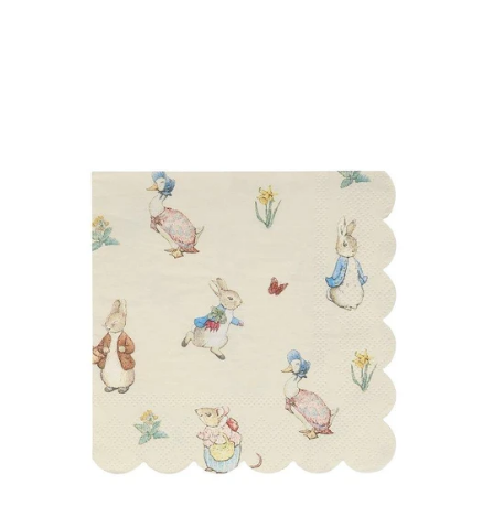 MeriMeri 20 Napkins Small Scalloped Peter Rabbit