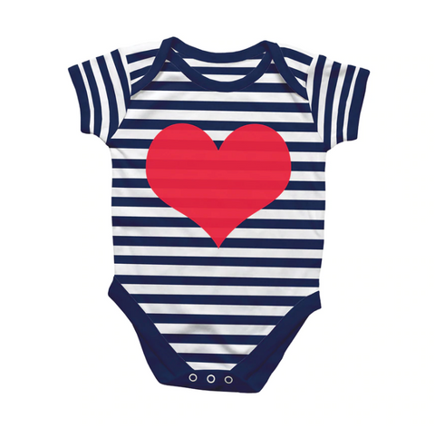 Rock Scissor Paper Onesie Navy Stripe Red Heart