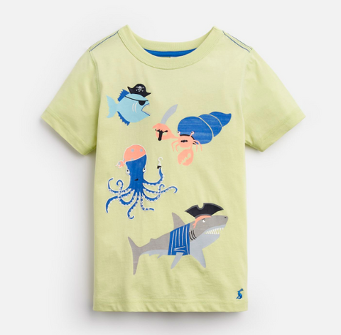 Joules Tee Shirt Green Pirate Fish Glow In The Dark