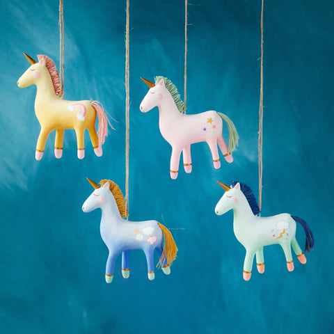 Glitterville Colorful Unicorn Ornaments