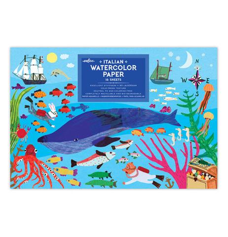 Eeboo 16 Sheet Watercolor Paper Pad Sea