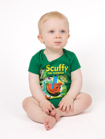 Out Of Print Onesie Scuffy The Tugboat Green