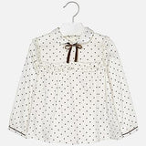Mayoral Longsleeve Shirt Blouse Cream Brown Dots