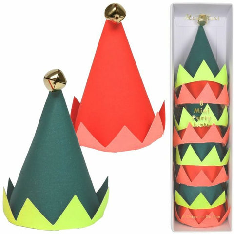 Meri Meri Set of 8 Mini Party Hats Elf Christmas