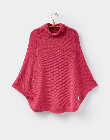 Joules Sweater Poncho Knit Yarn Pink