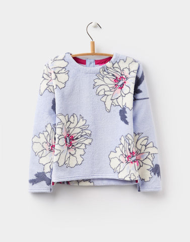 Joules Sweater Fuzzy Fleece Pullover Blue Floral