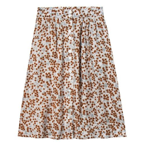 Rylee and Cru Midi Skirt Flower Field Button