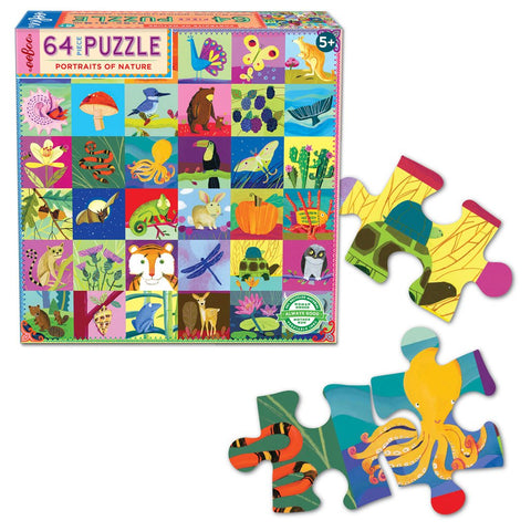 Eeboo 64 Piece Puzzle Portraits of Nature