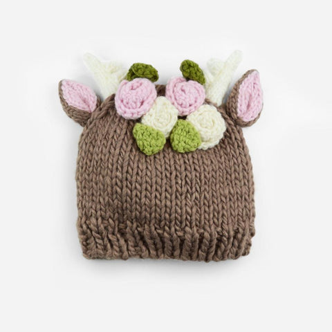 Blueberry Hill Hat Knitted Deer With Flowers