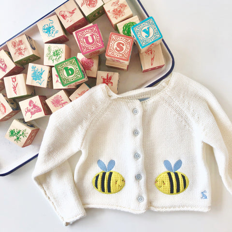 Joules Sweater Cardigan Cream Bees