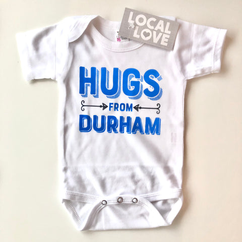 Hugs From Durham Blue Onesie from Rock Scissor Paper