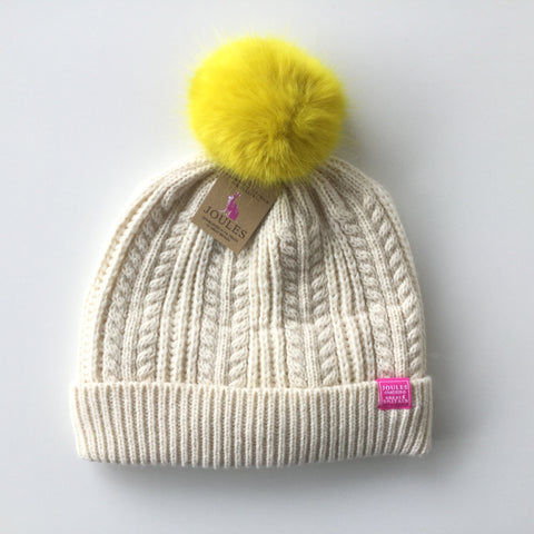 Joules Hat Cream Yellow Fur Ball