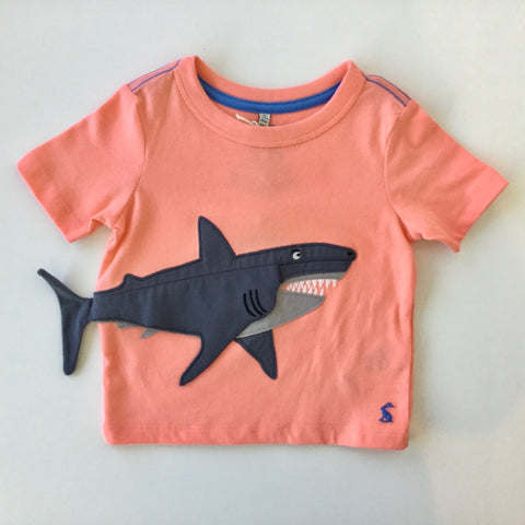Joules Tee Shirt Orange Shark with Liftable Body