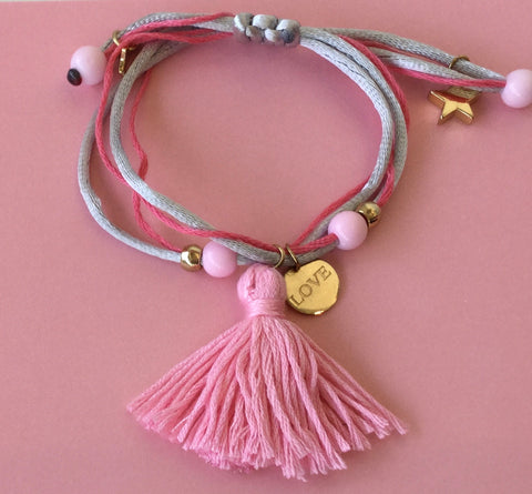Henny and Coco Bracelet BFF or LOVE Tassel Pink Grey Adjustable