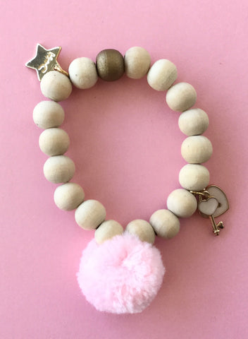 Henny and Coco Bracelet Wood Beads Pink Pom Pom