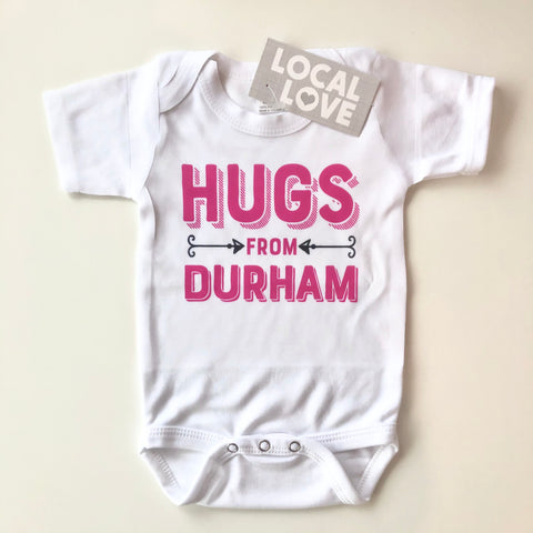 Hugs From Durham Pink Onesie from Rock Scissor Paper