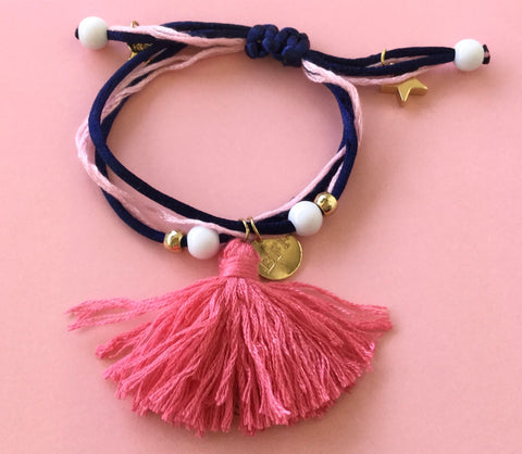 Henny and Coco Bracelet BFF Tassel Pink Navy Adjustable