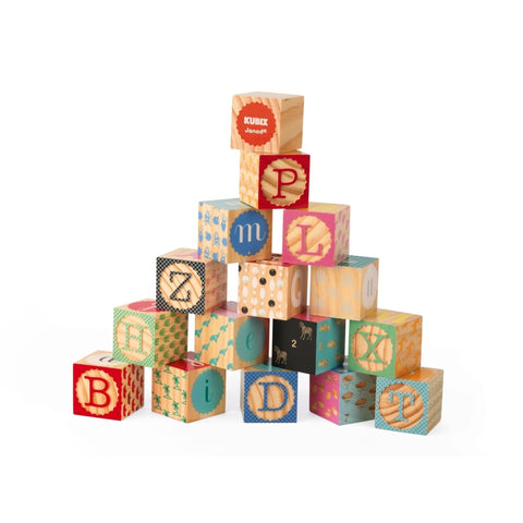 Janod 16 Carved Wooden Alphabet Blocks